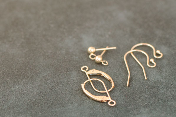 14kt Gold earring supplies; earwire, posts, and leverbacks